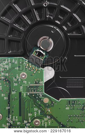Hard Drive Disc Detail With Mother Board. Backup Device. Vertical