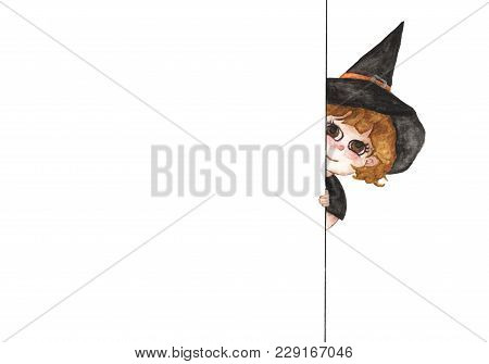Little Witch Peeking Out Behind Wall, Children Posing With A White Board Isolated On White Backgroun