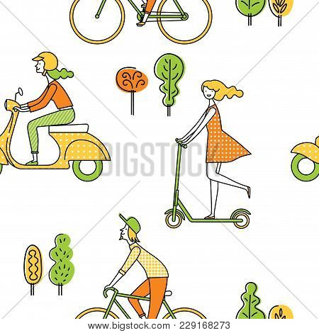 Seamless Pattern. People On The Street. Vector Set Of Characters. A Girl Rides A Scooter. A Man Ride