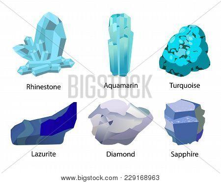 Rhinestone Aquamarine Turquoise Lazurite Diamond Sapphire Valuable Precious Stones Set Isolated Vect