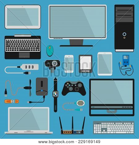 Electronic Gadgets Vector Icons Technology Pc Electronics Multimedia Devices. Everyday Technology Ob