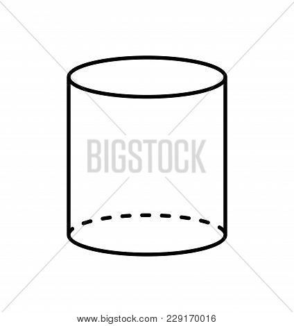 Black Cylinder Geometric Figure Shape Projection Of Dashed And Straight Lines. Cylinder With Side In
