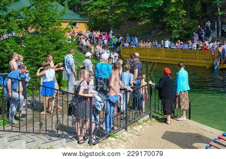 Tsyganovka, Russia - August 22, 2015: Unknown Pilgrims Are On Holy Spring Of Monk Seraphim Of Sarov