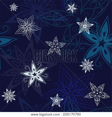 Stars Background, Night Sky And Stars Seamless Vector Pattern. Stars On The Night Sky. Vector Illust