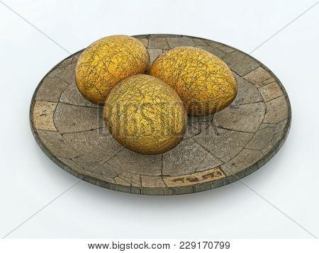 3D render of three scratched golden eggs on stone plate over white background