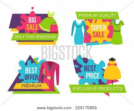 Women Clothing Store Set Of Advertising Labels With Elements Of Apparel For Woman, Cute Dresses On D