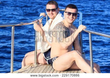 Sharm El Sheikh, Egypt - January 23, 2018: Happy People Sailing In The Boat At The Luxurious Resort