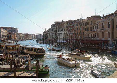 Venice, Italy - August 13, 2016: View Of Grand Canal From Rialto Bridge (ponte Di Rialto)