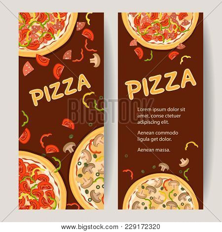 Italian Food. Realistic Pizza Flyer For Advertising Pizzeria. Two Vertical Banners With Ingredients