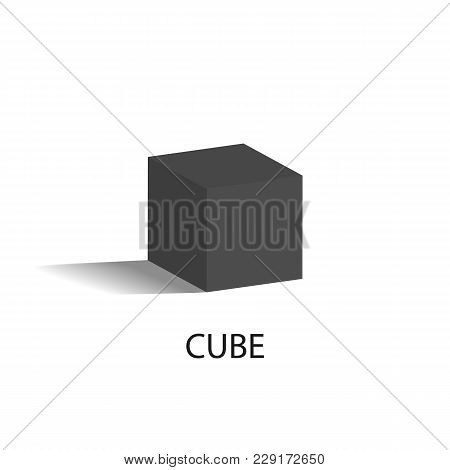 Cube Isolated Geometric Figure Of Black Color. Three-dimensional Cube Shape With All Even Sides That