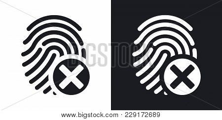 Vector Fingerprint Rejected Icon On Black And White Background