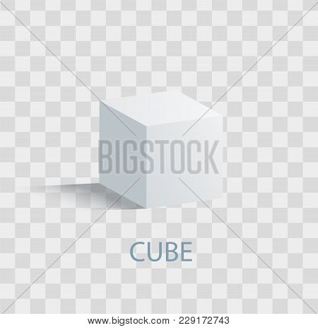 Cube Isolated Geometric Figure Of White Color. Three-dimensional Cube Shape With All Even Sides That