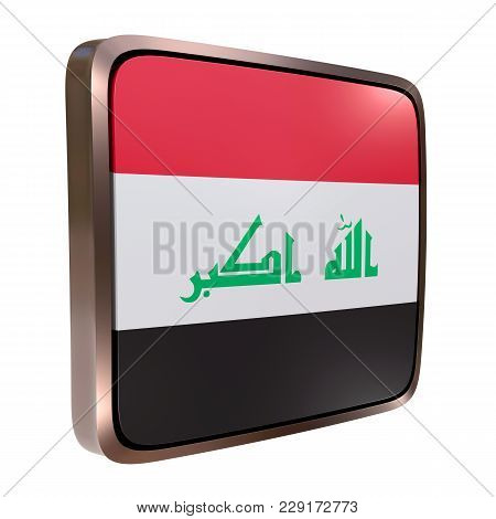 3d Rendering Of An Iraq Flag Icon With A Metallic Frame. Isolated On White Background.