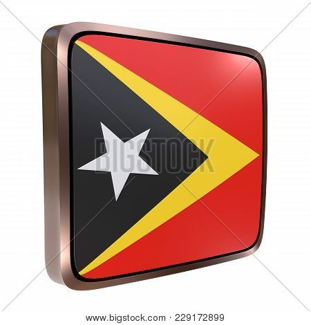 3d Rendering Of A Timor-leste Flag Icon With A Metallic Frame. Isolated On White Background.