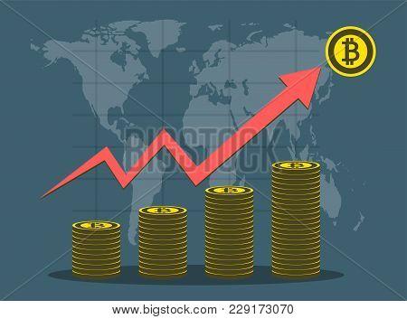 Bitcoin Business,arrows Soar On Background Map World.vector Illustrator