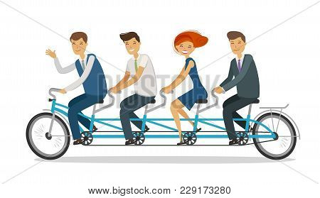 Teamwork Concept. Business People Or Students Riding Tandem Bike. Cartoon Vector