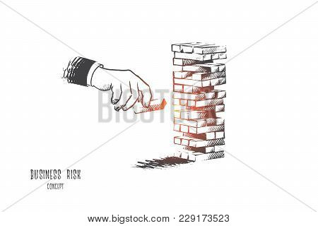 Business Risk Concept. Hand Drawn Hand Of Businessman Placing Out Wood Block On Tower. Risk And Stra