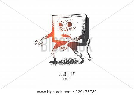 Zombie Tv Concept. Hand Drawn Media Zombie Person With Tv Set Instead Of Head. Man With Television H