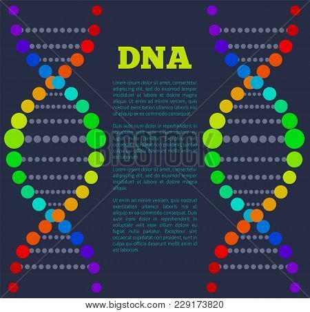 Dna Colorful Sign On Poster With Place For Text, Deoxyribonucleic Dna Acid Chain Carrying Genetic In