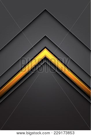 Abstract Yellow Arrow Line Light Gray Metal Direction Overlap With Dark Blank Space Design Modern Lu