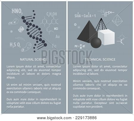 Natural And Technical Science, Posters With Subjects For Education, Science And Web Site With Inform