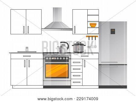 Modern Electric Appliances In Kitchen Interior Design. Modern Fridge, Cooker With Hood, Shiny Teapot