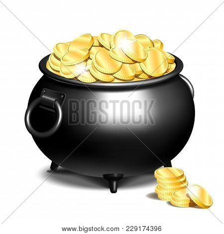 Black Iron Cauldron Full Of Gold Coins Isolated On White Background. Stack Of Gold Coins Near The Bl