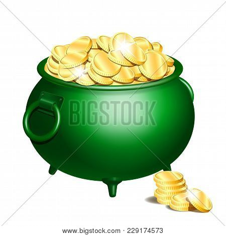 Green Iron Cauldron Full Of Gold Coins Isolated On White Background. Stack Of Gold Coins Near The Gr