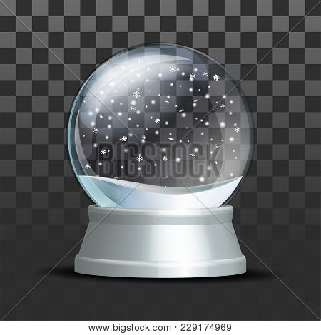 Snow Globe With Falling Snowflakes. Realistic Transparent Glass Sphere On White Pedestal. Magic Glas