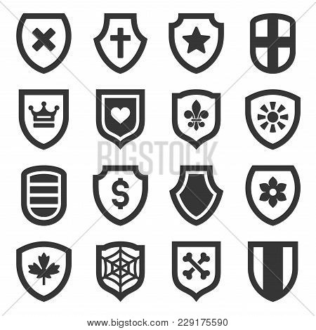 Shield Icons Set On White Background. Vector Illustration