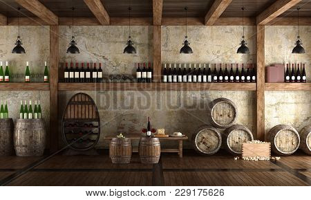 Old Wine Cellar With Bench For Tasting - 3d Rendering