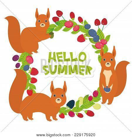 Hello Summer Round Wreath With Red Squirrels Cherry Strawberry Raspberry Blackberry Blueberry Cranbe