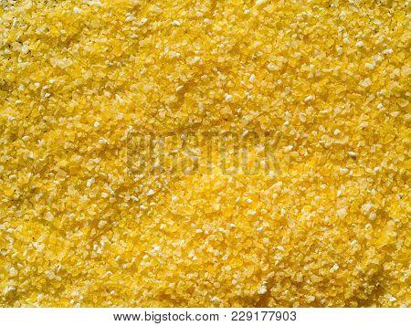 Raw Dry Grains Polenta, Close-up, Top View