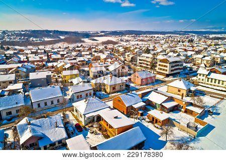 Aerial Snowy Winter View Of Krizevci, Town In Prigorje, Croatia