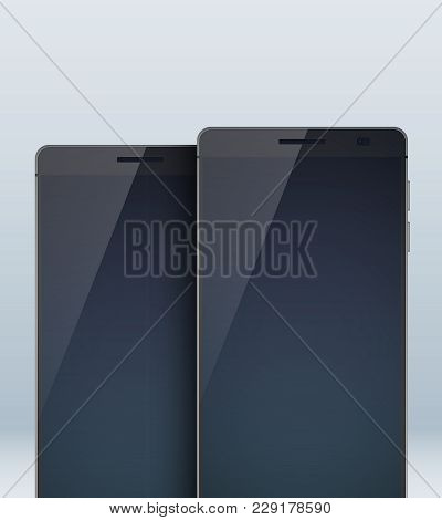 Modern Design Concept Set With Two Identic Black Portables With Shadows On The Large Blanks And Touc