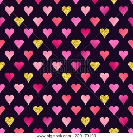 Abstract Seamless Pattern Of Pink And Golden Hearts With Realistic Glitter Effect On Dark Backdrop.