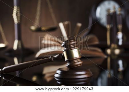 Legal Office Concept. Gavel, Scale And Clock.