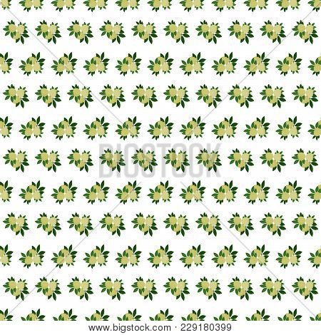 Bedding With A Pattern Of Flowering. Seamless Background With White Green Flowers. Veil Vector Illus