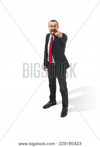 Full Body Or Full-length Portrait Of Happy Businessman Pointing To Camera On White Studio Background