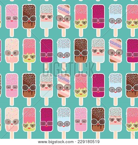 Seamless Pattern Ice Cream, Ice Lolly  Kawaii With Pink Cheeks And Winking Eyes, Sunglasses, Pastel