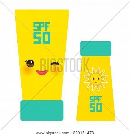 Suntan Lotion Sun Cream Container. Sunscreen Spf 50. Yellow Green Tube On White Background. Sun Care