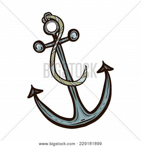 Nautical Ship Anchor Isolated. Hand Drawn Illustration Equipment For Water Transport. Vintage Vector