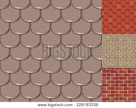 Roof Tiles Of Classic Texture And Detail House Seamless Pattern Material Vector Illustration. Exteri
