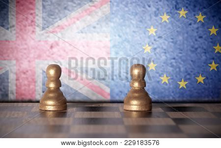 Chess Pawns With European And  British Flags Painted On Wall