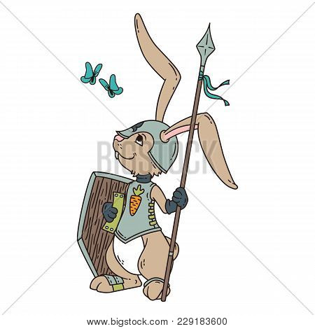 Bunny Knight With A Lance And Shield. Vector Illustration Isolated On White Background.