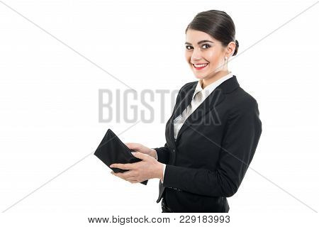 Beautiful Female Flight Attendant Looking In Wallet And Smiling