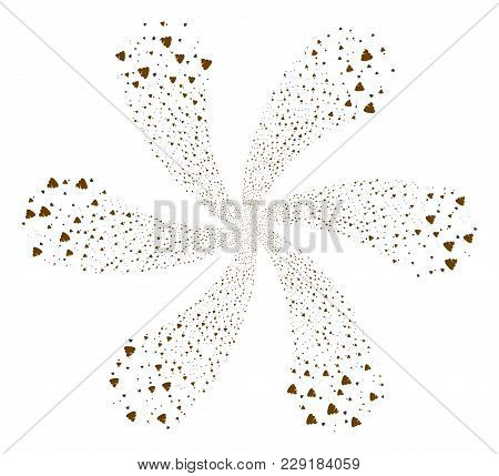 Shit Flies Explosion Composition. Element Twirl Done From Scattered Shit Flies Symbols. Vector Illus