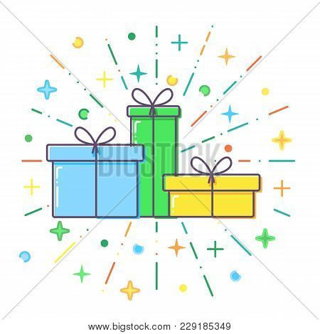 Flat Blue, Green And Yellow Gift Boxes Vector.