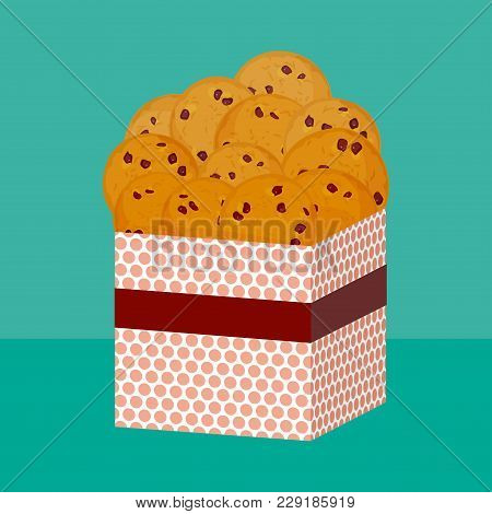 Chocolate Chip Cookie, Freshly Baked Four Cookies. Present Pink Gift Box With Biscuits. Bright Color