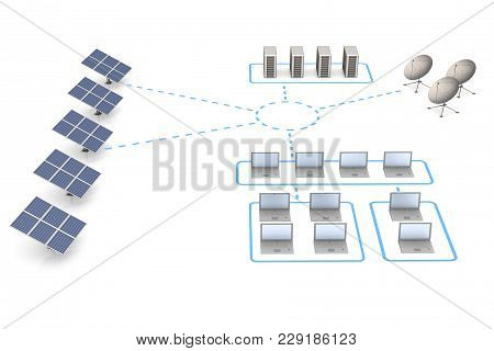 Energy And Network. White Isolated 3d Rendering